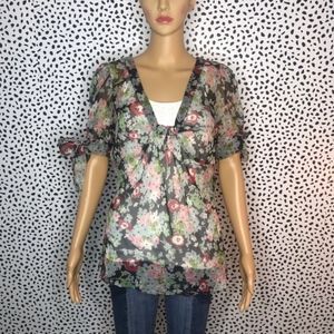 Anthro || Odille black floral blouse size 10